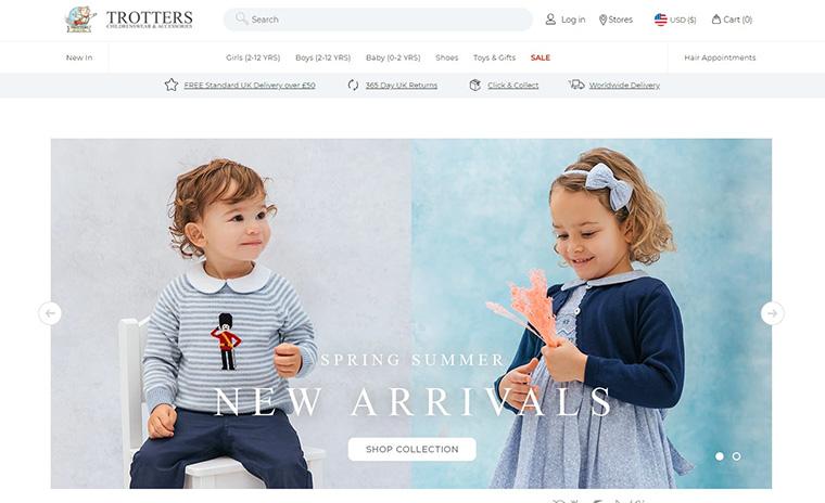 イギリスの伝統的なデザインをベースにしたベビー・子供洋服通販サイト Trotters